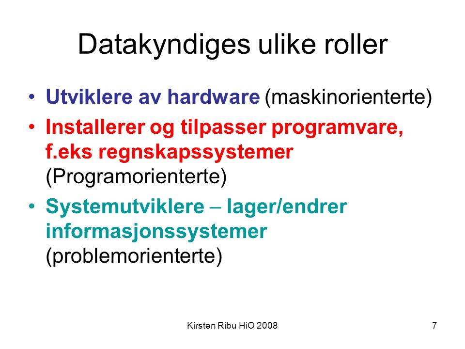 Datakyndiges ulike roller