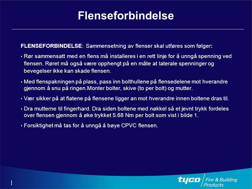 Flenseforbindelse FLENSEFORBINDELSE: Sammensetning av flenser skal utføres som følger: