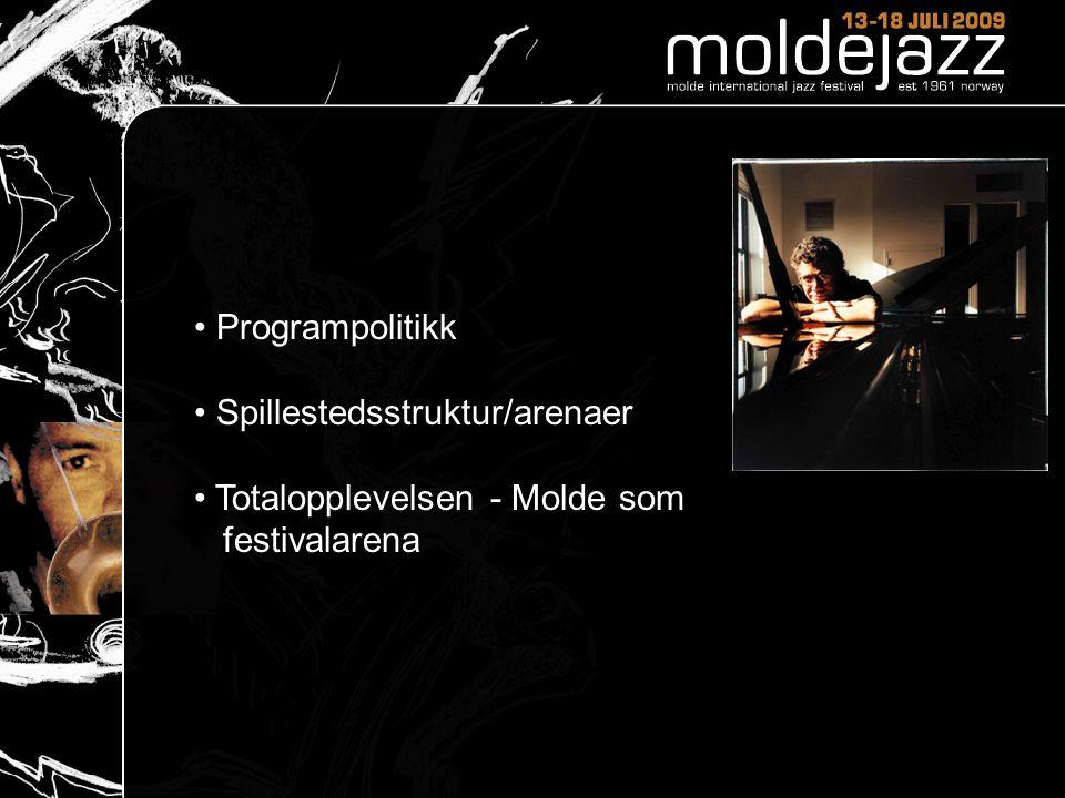 Programpolitikk Spillestedsstruktur/arenaer Totalopplevelsen - Molde som festivalarena