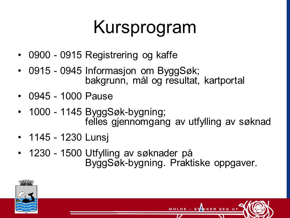 Kursprogram 0900 - 0915 Registrering og kaffe