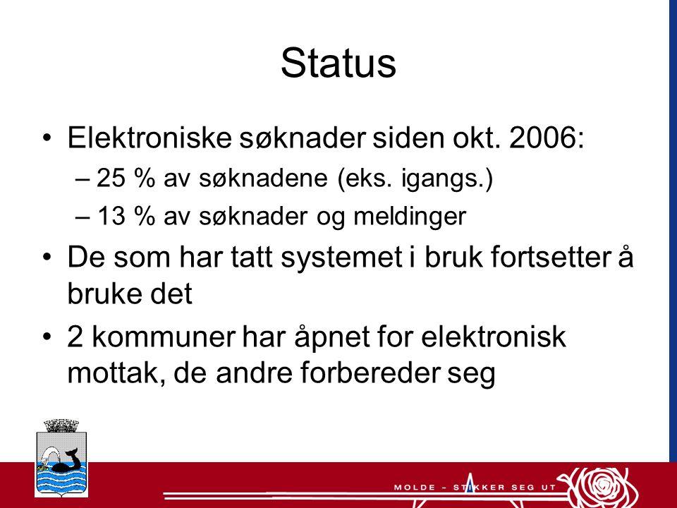 Status Elektroniske søknader siden okt. 2006: