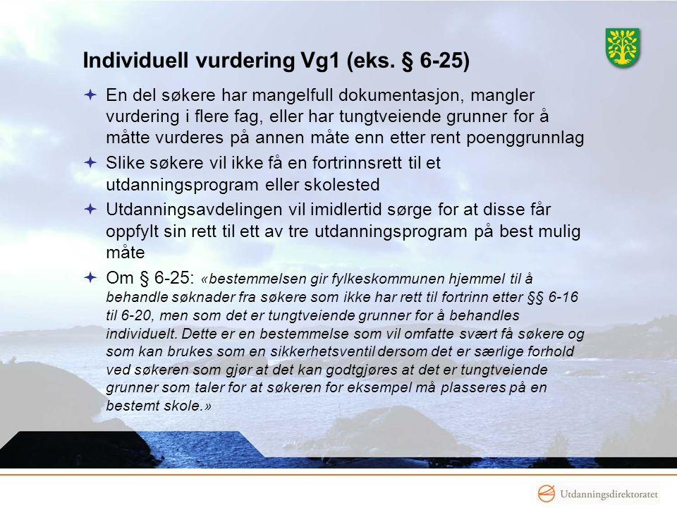 Individuell vurdering Vg1 (eks. § 6-25)