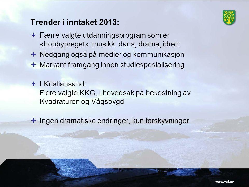 Trender i inntaket 2013: Færre valgte utdanningsprogram som er «hobbypreget»: musikk, dans, drama, idrett.