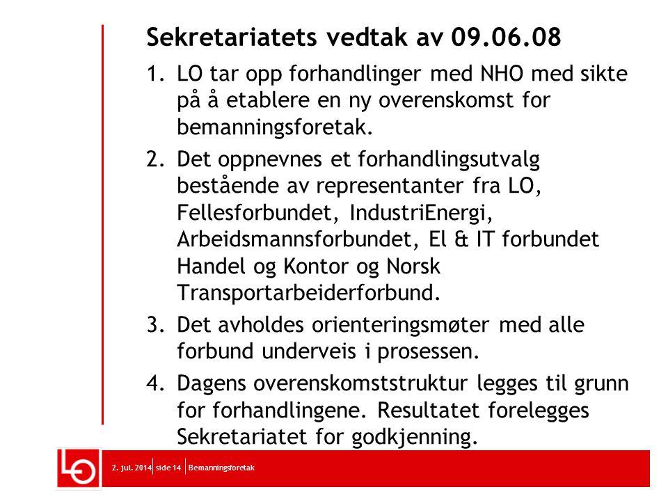 Sekretariatets vedtak av 09.06.08