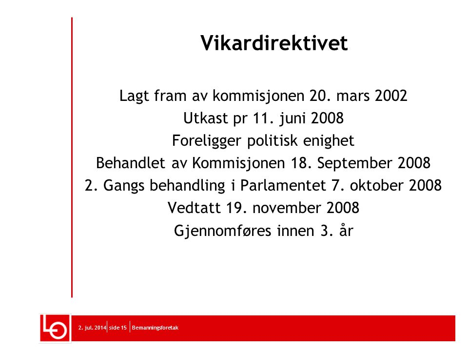 Vikardirektivet Lagt fram av kommisjonen 20. mars 2002