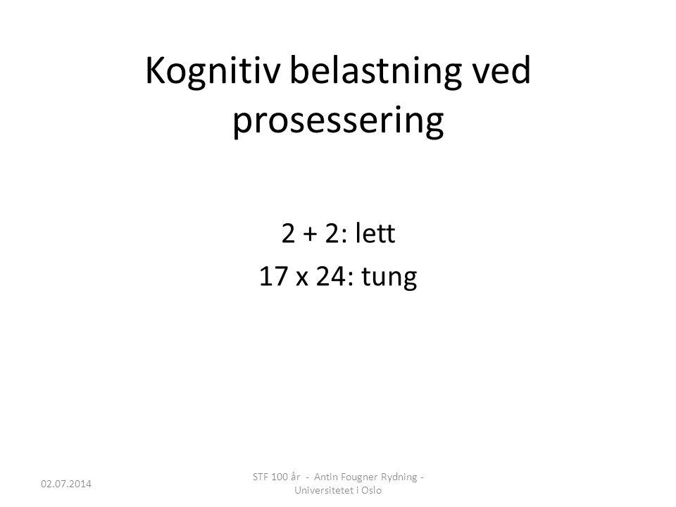 Kognitiv belastning ved prosessering