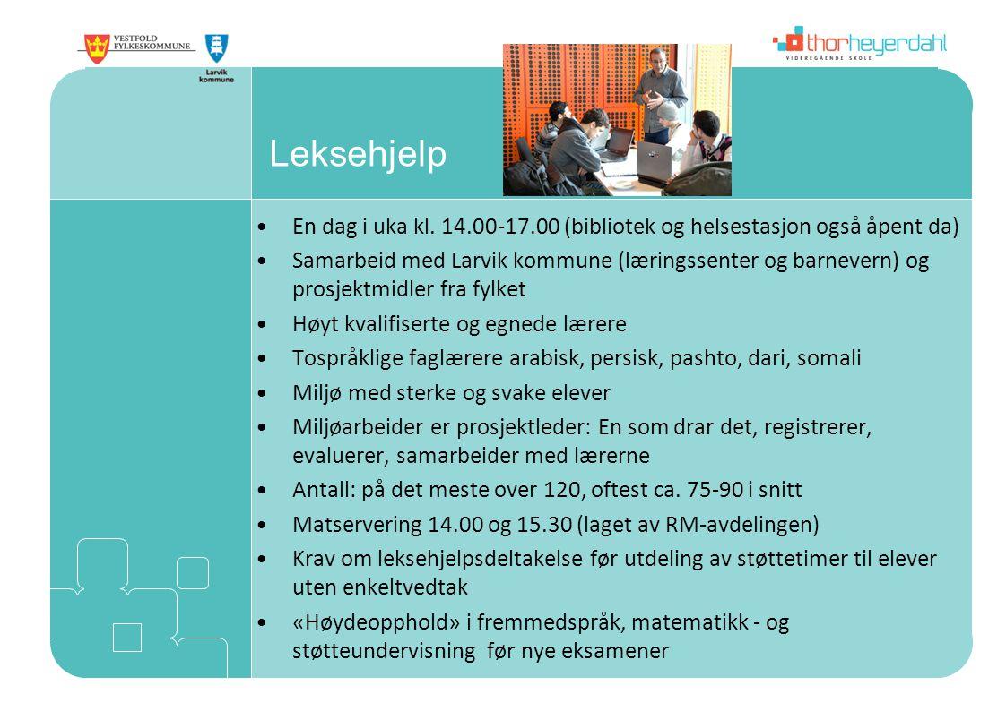Leksehjelp En dag i uka kl. 14.00-17.00 (bibliotek og helsestasjon også åpent da)