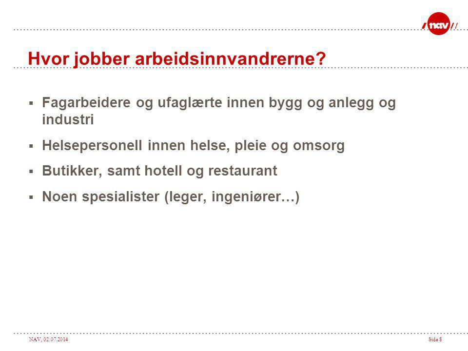 Hvor jobber arbeidsinnvandrerne