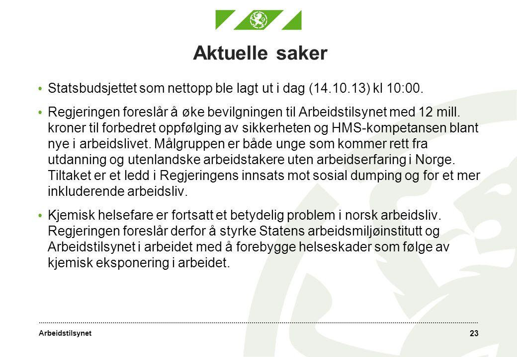 Aktuelle saker Statsbudsjettet som nettopp ble lagt ut i dag (14.10.13) kl 10:00.