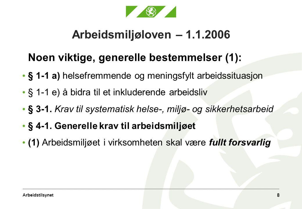 Arbeidsmiljøloven – 1.1.2006 Noen viktige, generelle bestemmelser (1): § 1-1 a) helsefremmende og meningsfylt arbeidssituasjon.