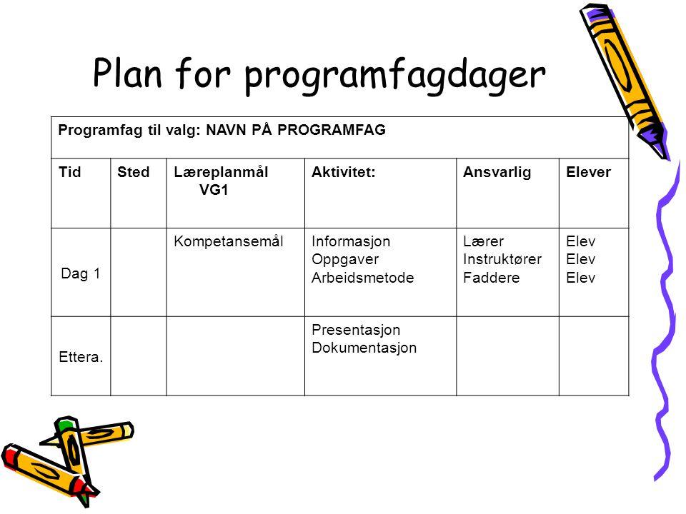 Plan for programfagdager