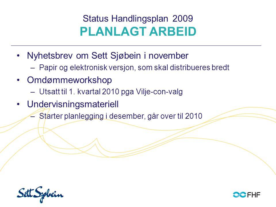 Status Handlingsplan 2009 PLANLAGT ARBEID