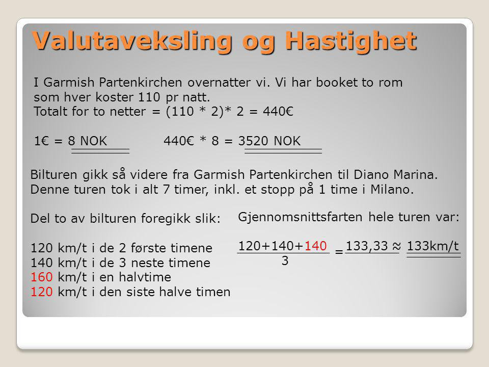 Valutaveksling og Hastighet