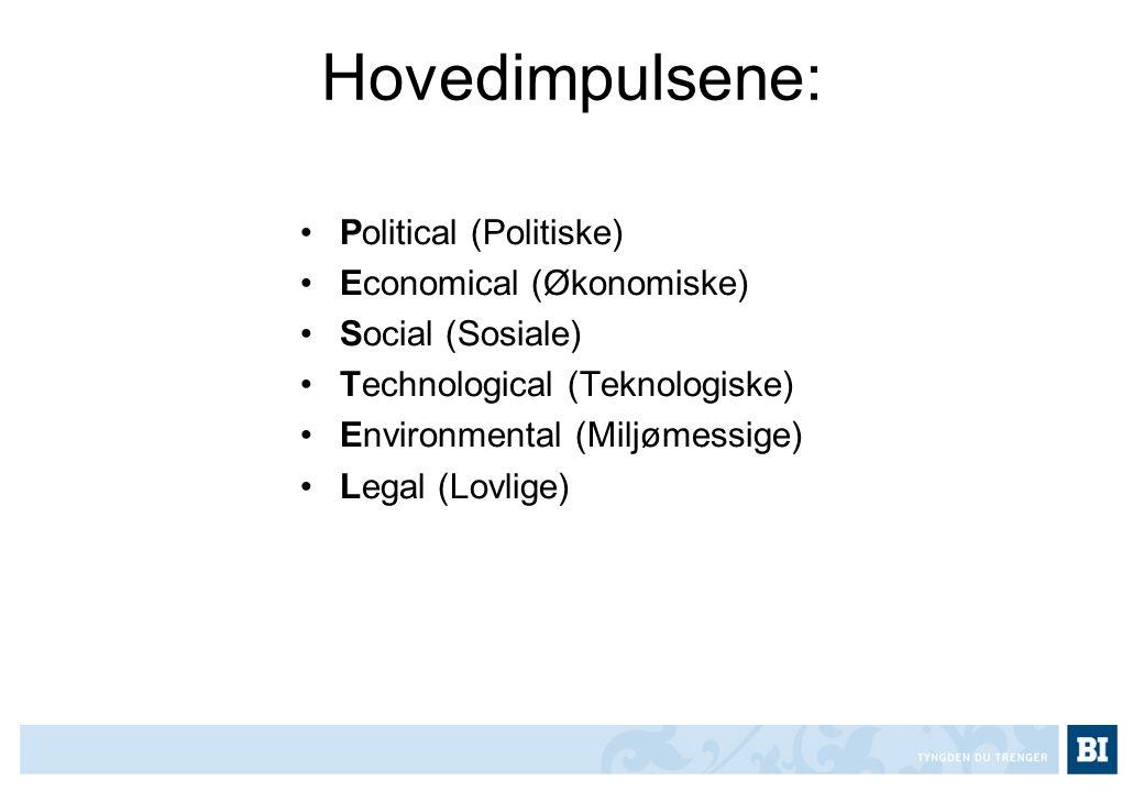 Hovedimpulsene: Political (Politiske) Economical (Økonomiske)