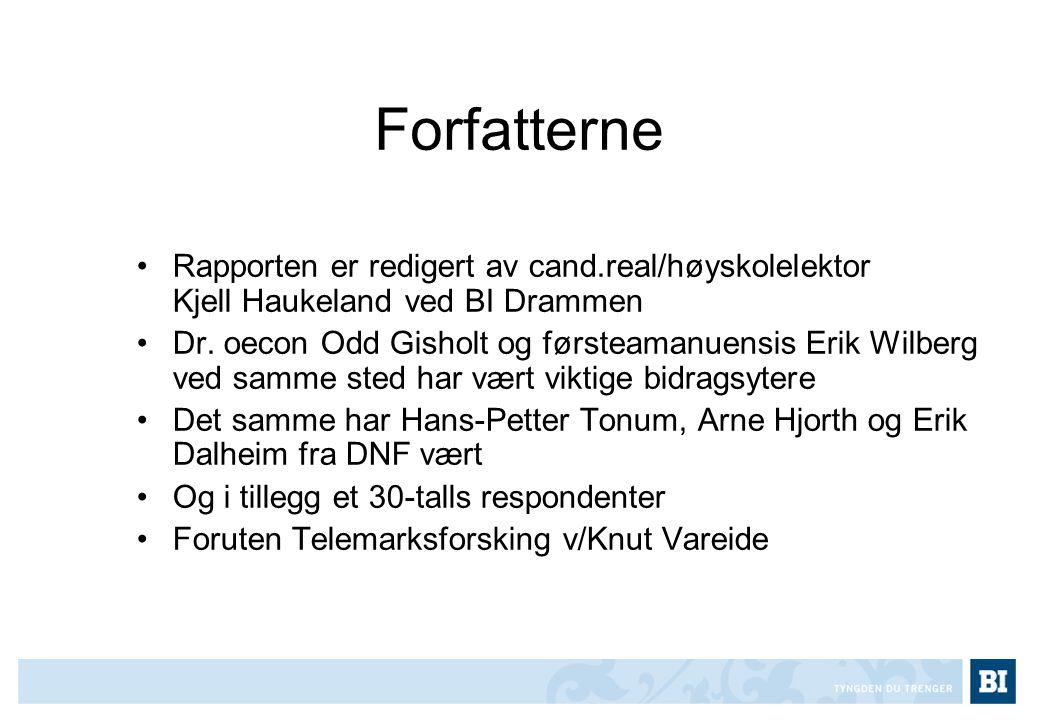 Forfatterne Rapporten er redigert av cand.real/høyskolelektor Kjell Haukeland ved BI Drammen.