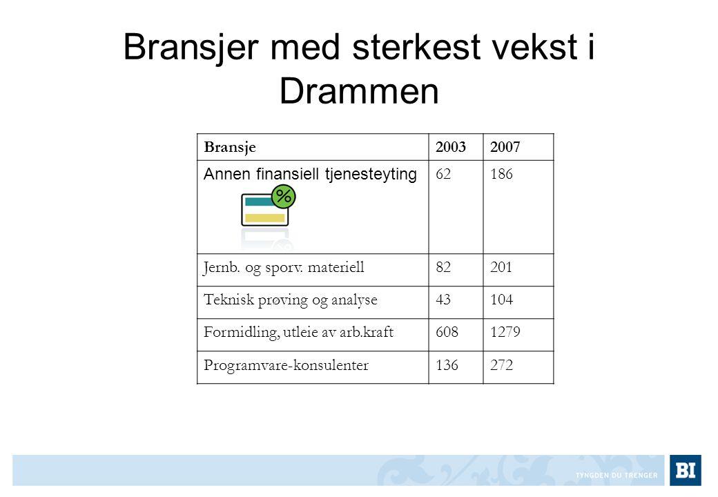 Bransjer med sterkest vekst i Drammen