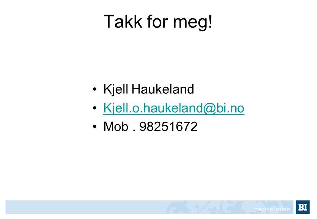Takk for meg! Kjell Haukeland Kjell.o.haukeland@bi.no Mob . 98251672