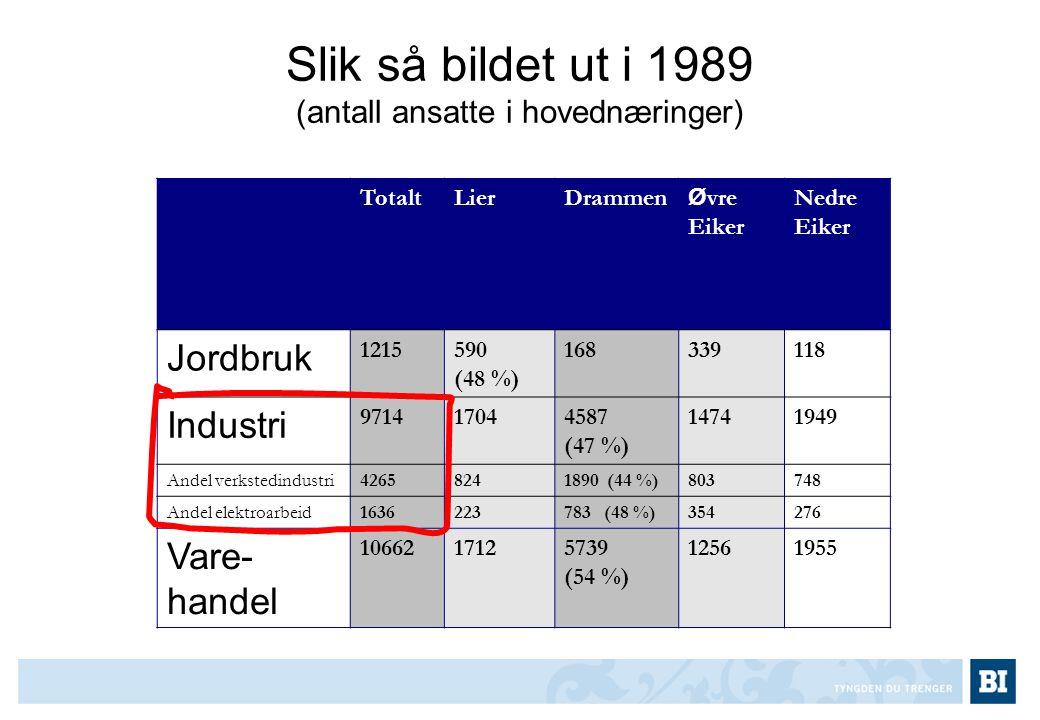 Slik så bildet ut i 1989 (antall ansatte i hovednæringer)