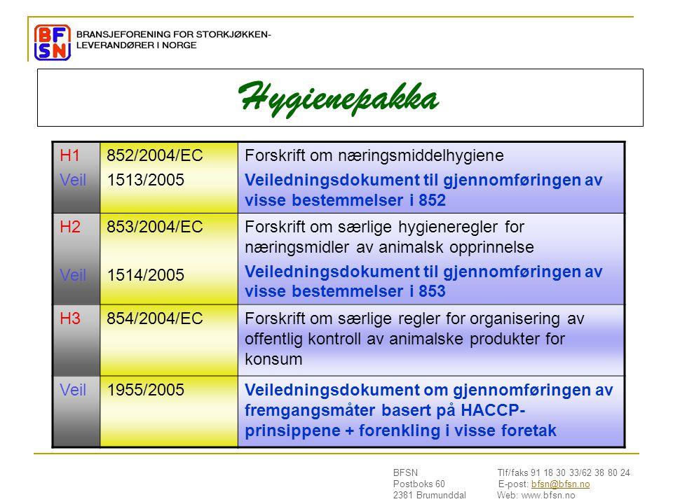 Hygienepakka H1 Veil 852/2004/EC 1513/2005