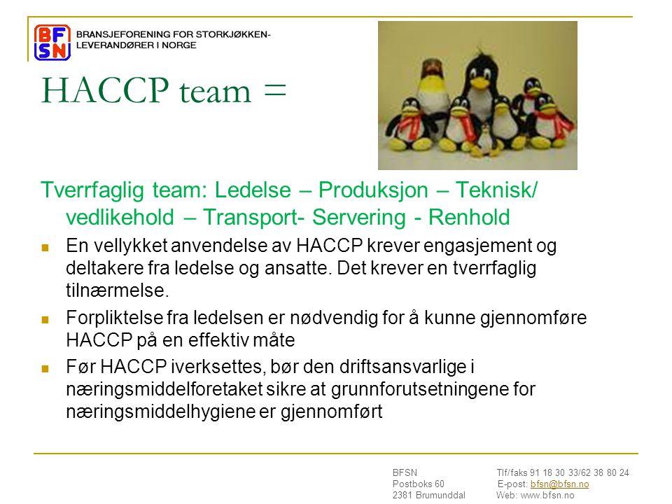 HACCP team = Tverrfaglig team: Ledelse – Produksjon – Teknisk/ vedlikehold – Transport- Servering - Renhold.