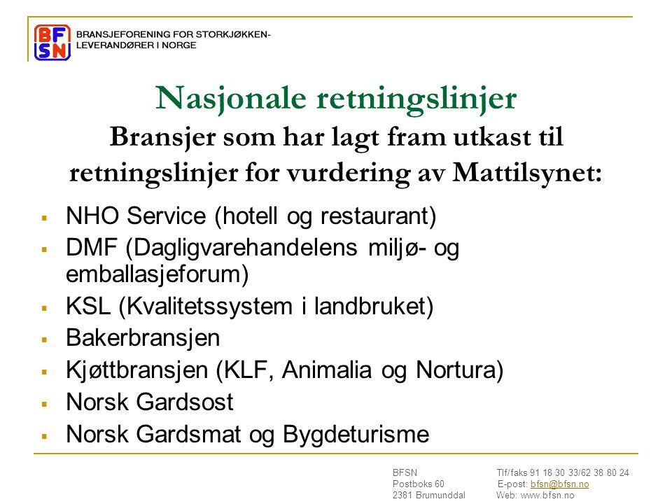 Nasjonale retningslinjer Bransjer som har lagt fram utkast til retningslinjer for vurdering av Mattilsynet: