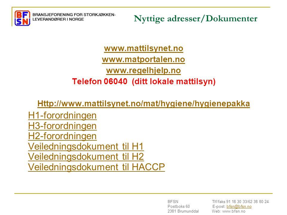 Nyttige adresser/Dokumenter