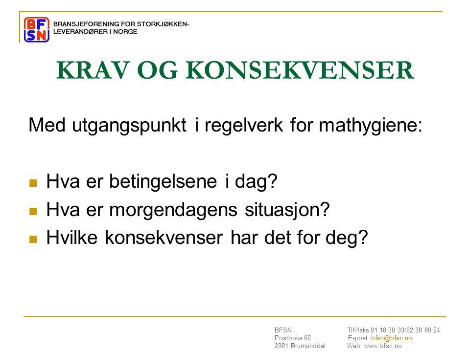 KRAV OG KONSEKVENSER Med utgangspunkt i regelverk for mathygiene: