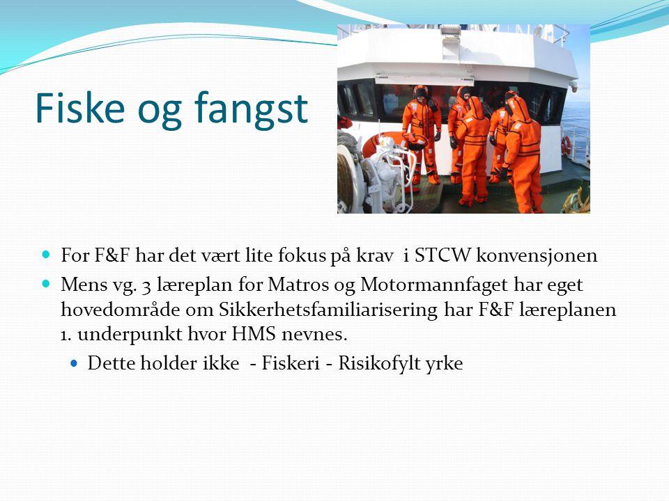 Fiske og fangst For F&F har det vært lite fokus på krav i STCW konvensjonen.