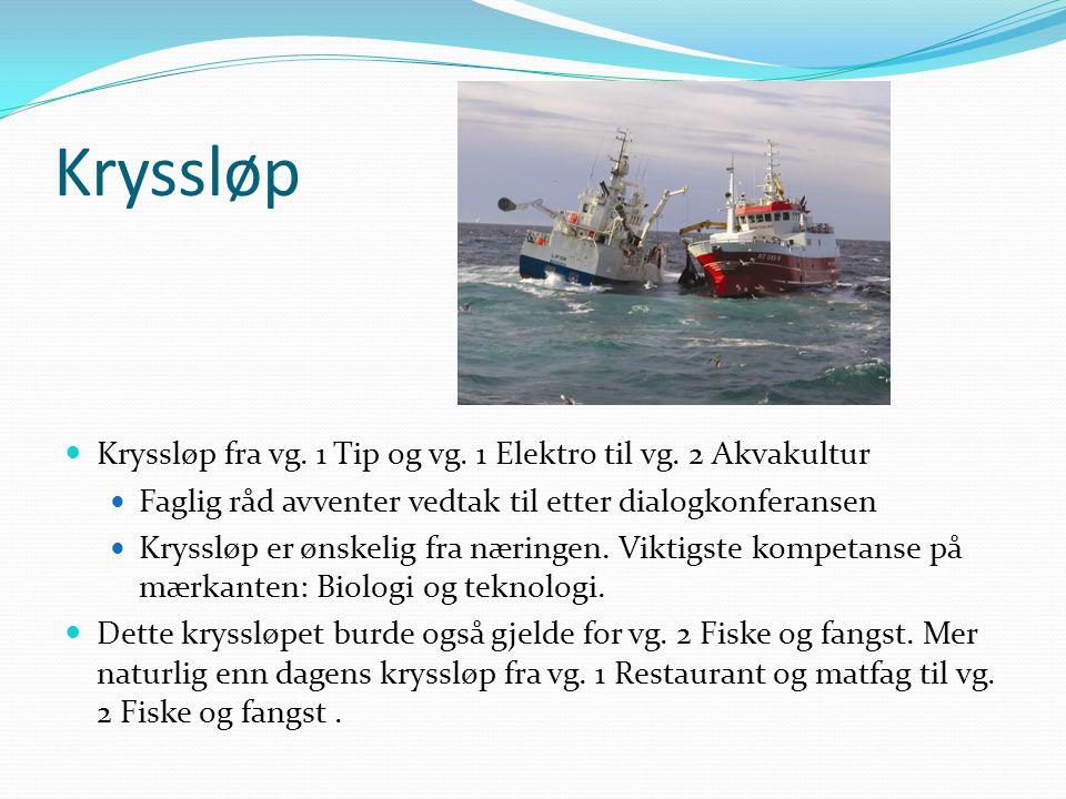 Kryssløp Kryssløp fra vg. 1 Tip og vg. 1 Elektro til vg. 2 Akvakultur