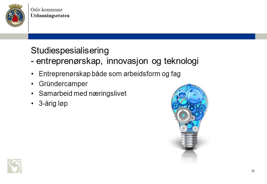 Studiespesialisering - entreprenørskap, innovasjon og teknologi