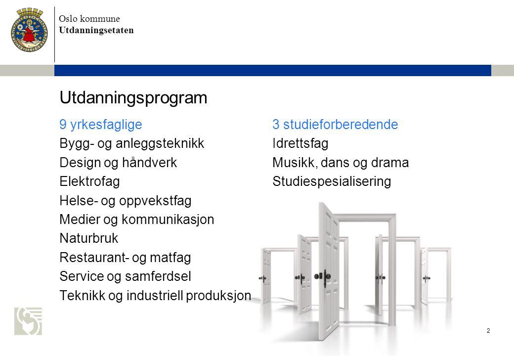 Utdanningsprogram 9 yrkesfaglige 3 studieforberedende