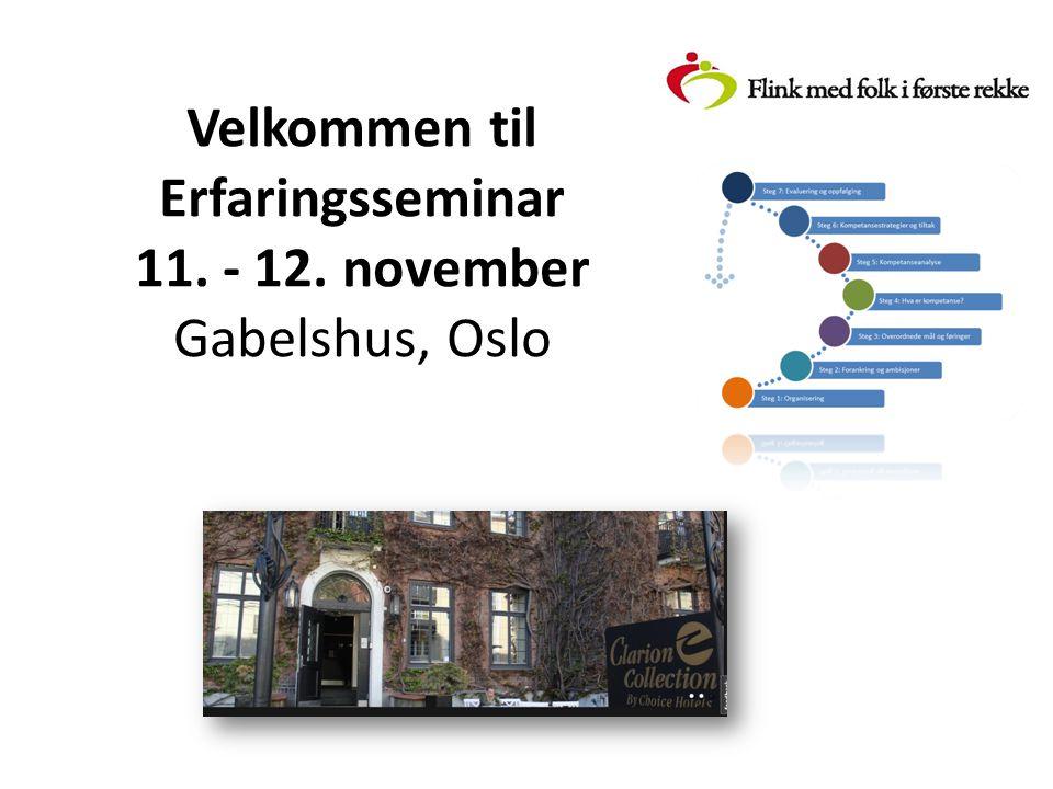 Velkommen til Erfaringsseminar 11. - 12. november Gabelshus, Oslo