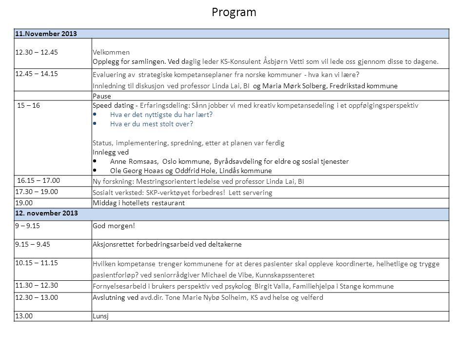 Program 11.November 2013. 12.30 – 12.45.