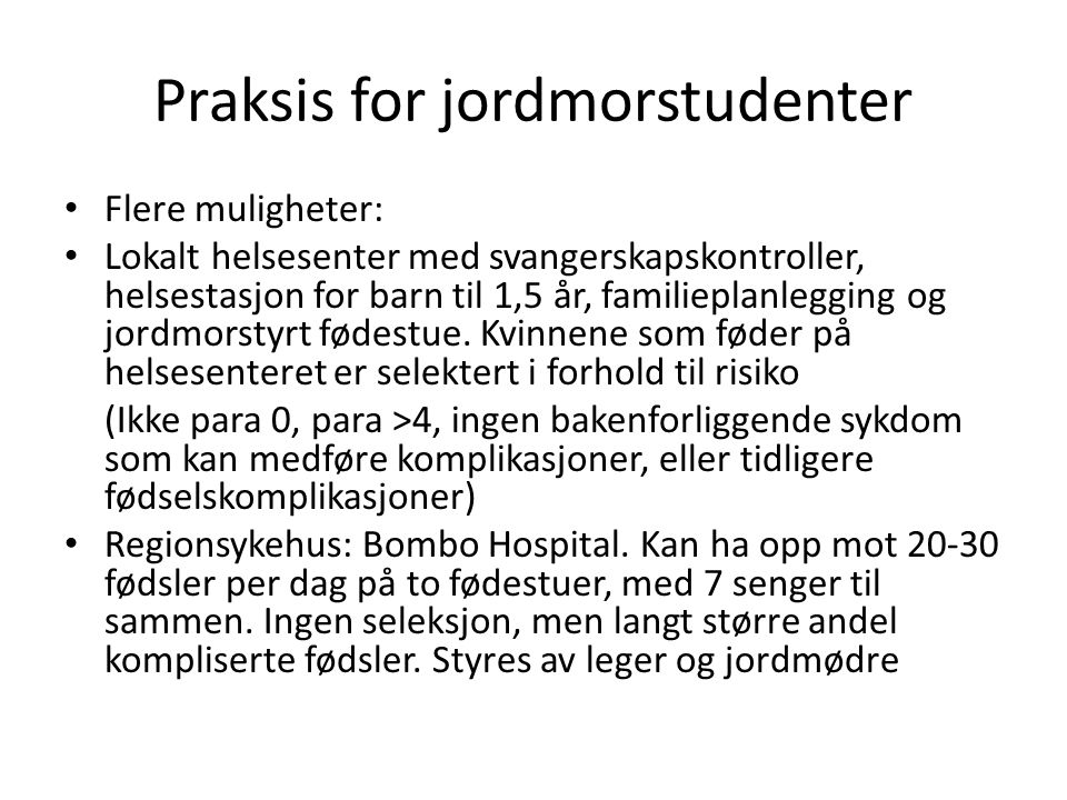 Praksis for jordmorstudenter