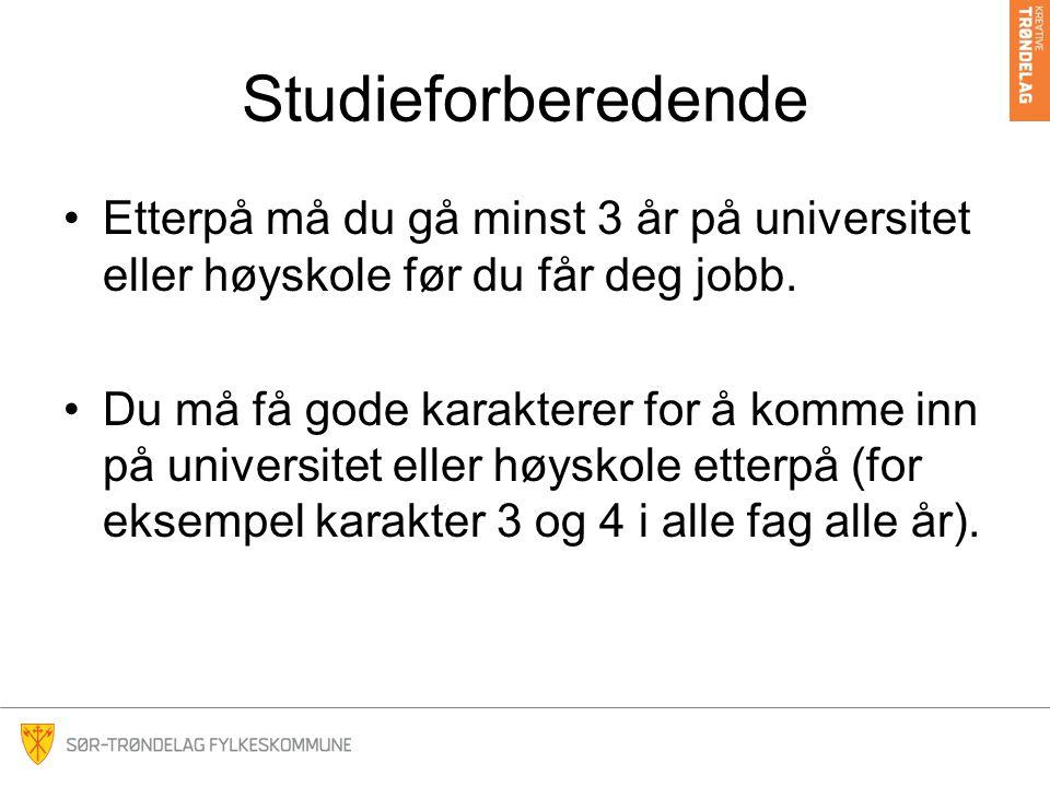 Studieforberedende Etterpå må du gå minst 3 år på universitet eller høyskole før du får deg jobb.