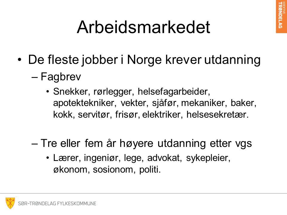Arbeidsmarkedet De fleste jobber i Norge krever utdanning Fagbrev