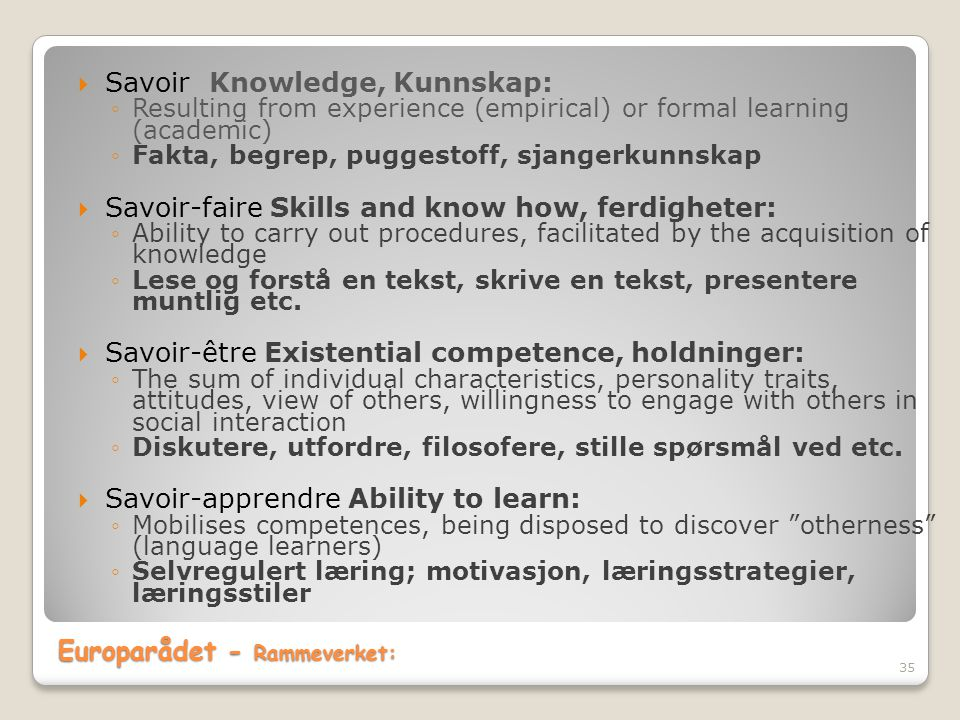 Europarådet - Rammeverket: