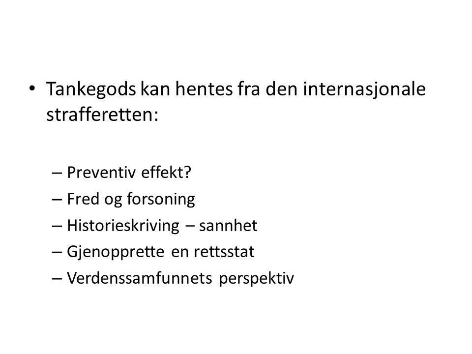 Tankegods kan hentes fra den internasjonale strafferetten: