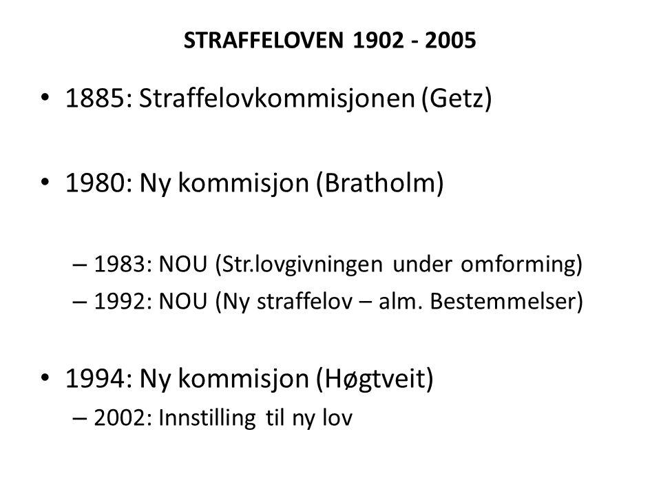1885: Straffelovkommisjonen (Getz) 1980: Ny kommisjon (Bratholm)