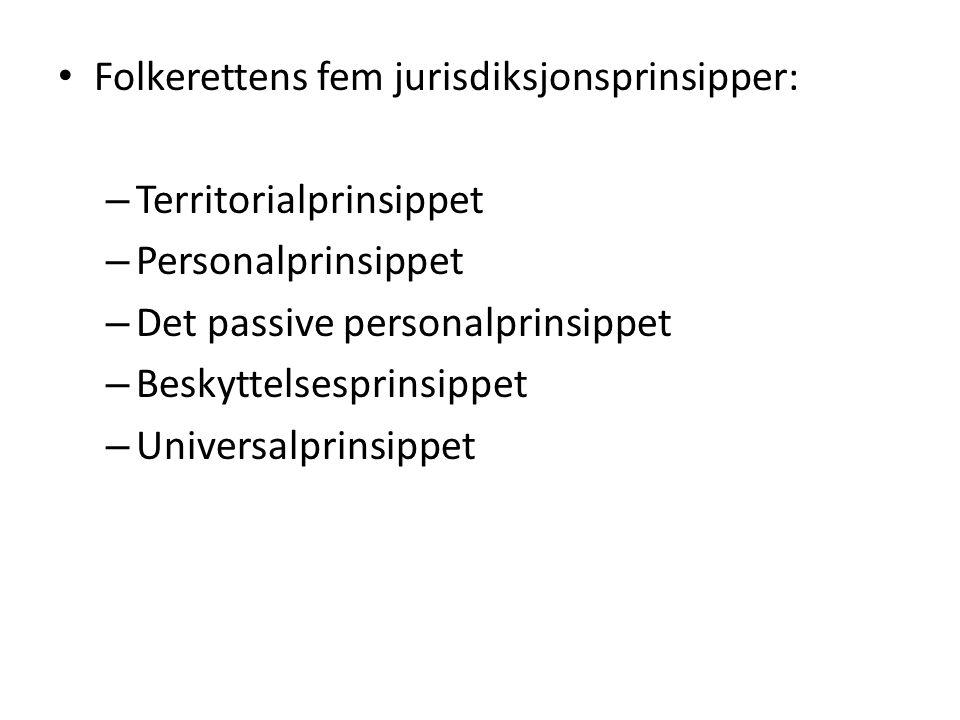 Folkerettens fem jurisdiksjonsprinsipper: