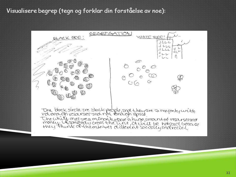 Visualisere begrep (tegn og forklar din forståelse av noe):