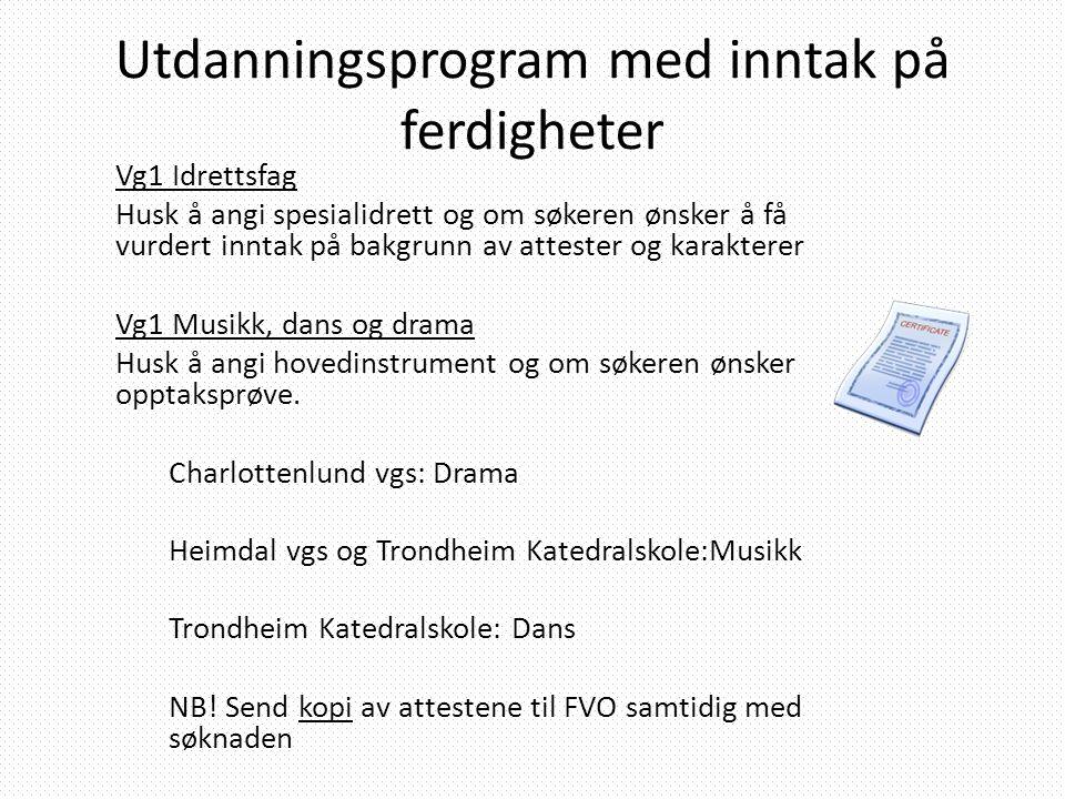 Utdanningsprogram med inntak på ferdigheter