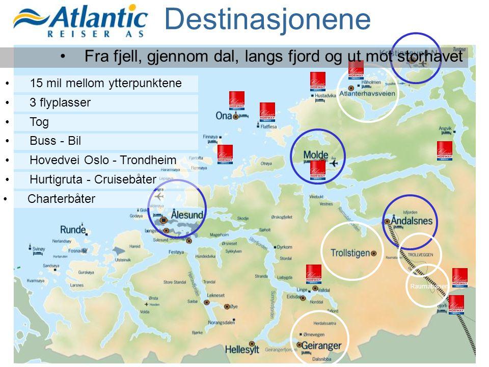 Destinasjonene Fra fjell, gjennom dal, langs fjord og ut mot storhavet