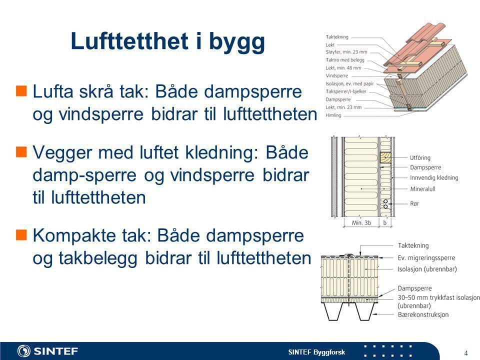 Lufttetthet i bygg Lufta skrå tak: Både dampsperre og vindsperre bidrar til lufttettheten.