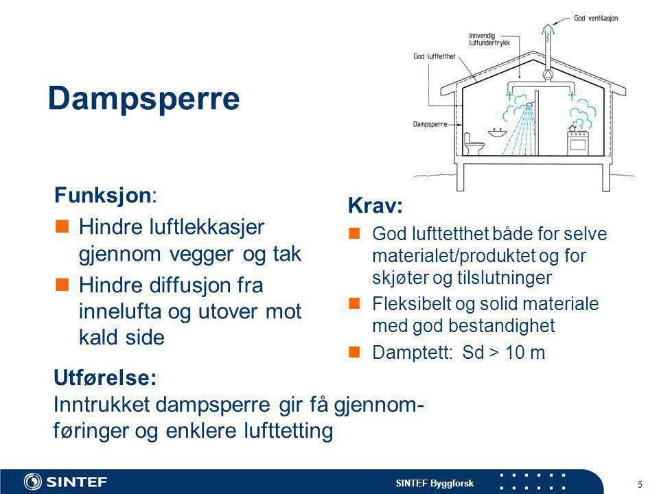 Dampsperre Funksjon: Krav: Hindre luftlekkasjer gjennom vegger og tak