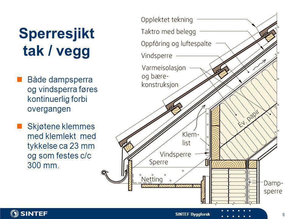 Sperresjikt tak / vegg Både dampsperra og vindsperra føres kontinuerlig forbi overgangen.