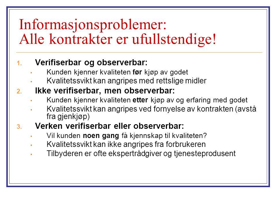 Informasjonsproblemer: Alle kontrakter er ufullstendige!