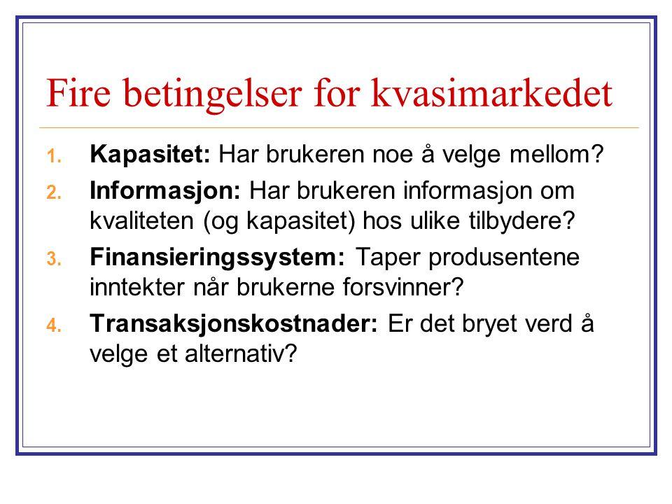 Fire betingelser for kvasimarkedet