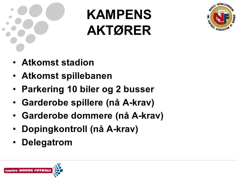 KAMPENS AKTØRER Atkomst stadion Atkomst spillebanen