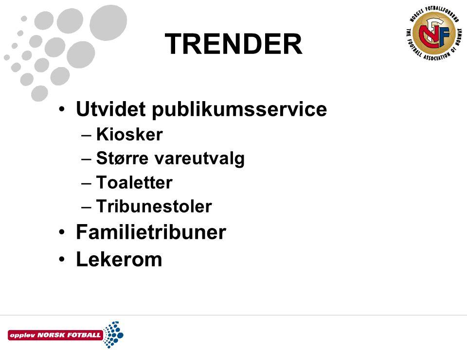 TRENDER Utvidet publikumsservice Familietribuner Lekerom Kiosker